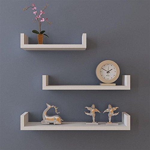 Cheap Keland Set of 3 Floating U Shelves, Wall Mounted Shelves for Bedroom Living Room Office, White