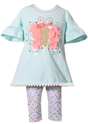 Bonnie Baby Size 12M-24M Aqua Butterfly Tunic Capri Legging Set (18M) ()