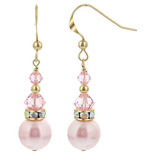 Gem Avenue Gold filled White Pearl Swarovski Elements Pink Crystal French Wire Drop Earrings for Women