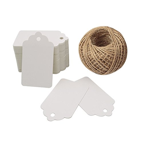 White Gift Tags,Kraft Paper Tags for Wedding,100 Pcs Craft Hang Tags with Free 100 Feet Natural Jute Twine
