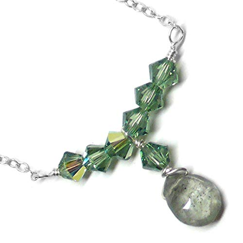 Moss Aquamarine Briolette Dainty Bar Chain Necklace Sterling Silver 17 Inches ()