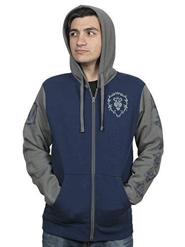 JINX World of Warcraft Alliance Pride Zip-Up Hoodie (Blue/Gray, Small)