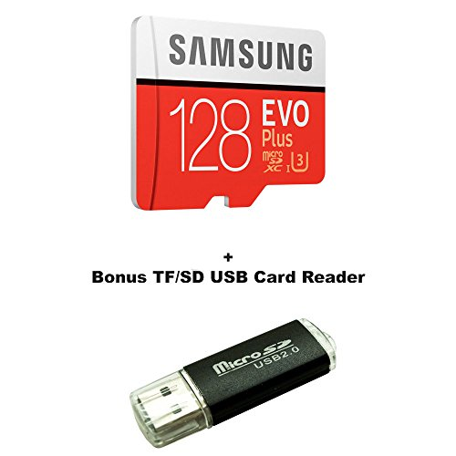 128GB Samsung Evo Plus Micro SDXC Class 10 UHS-1 128G Memory Card for Samsung Galaxy Note 8, S8, S8+ Plus, S7, S7 Edge, S5 Active Cell Phone with Bonus SD/TF USB Card Reader (MB-MC128GA)