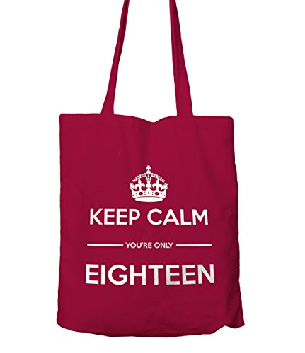 Keep Calm You're Only 18 Gift Tote Shopping Bag Cranberry