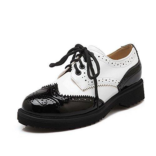 VogueZone009 Women's Lace-up Round Closed Toe Low-Heels PU Assorted Color Pumps-Shoes Black Tc0ZVrTi