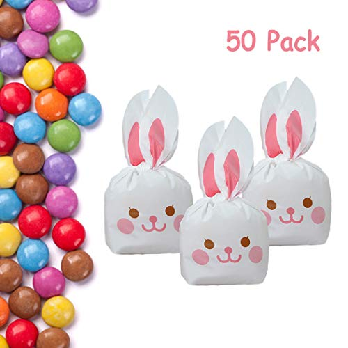 (JUSTDOLIFE Candy Bag Set of 50 Easter Candy Bag with Bunny Rabbit Ears Ties Plastic Favor Bag Gift for Easter Party Cookie Candy Snack Toys)