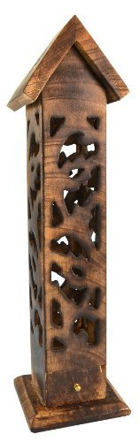 Carved Wood Square Tower Incense Burner w/Slide-Out Ash Catcher - Angled Roof Top