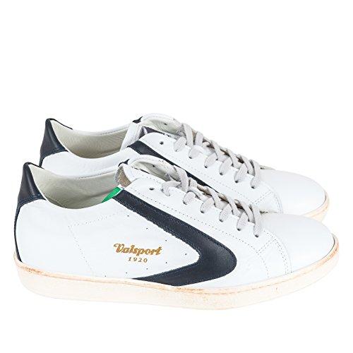 VALSPORT Sneaker Stringata, Uomo, Scarpa con Lacci, Logo Applicato sulla Linguetta e sui Lati, Suola Effetto Vintage, Logo a Contrasto, MOD. TOUR007 P/E18 (Bianco/Blu).