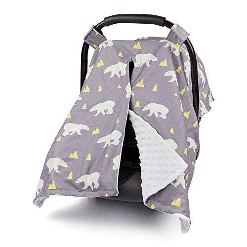 MHJY Carseat Canopy Cover Nursing Cover Breathable Baby Car Seat Canopy Polar Bear Carseat Canopy for Girl Boy Baby Shower Gift Multi-use Cover for Breastfeeding Moms ()