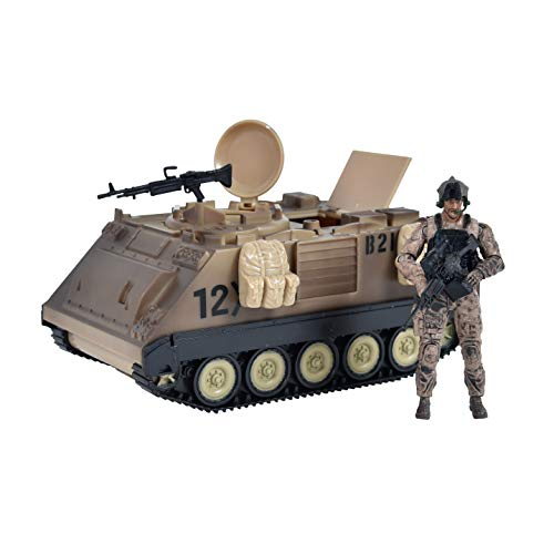 Elite Force Assembly-Free M113 Desert Armored Military Vehicle with 1/18 Scale Gunner Action Figure, 2 Machine Guns, 3 Utility Packs and 2 Gunner Hatches for Indoor and Outdoor Play