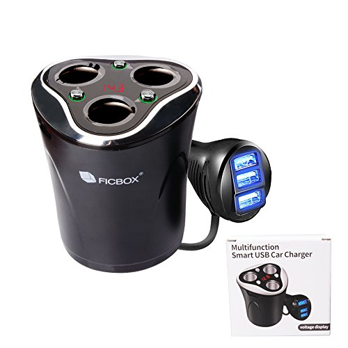 Car Charger, FICBOX 12V/24V 120W Car Cup Charger Multi-Function Power Adapter with 3 Socket Cigarette Lighter Splitter + 3 USB Car Charger Adapter Cupped Plug