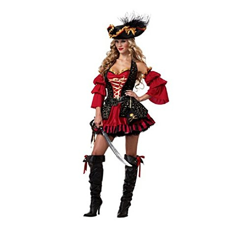 [ABCmall Women's Eye Candy Spanish Pirate Adult Costumes (XL)] (Somali Pirate Costume)