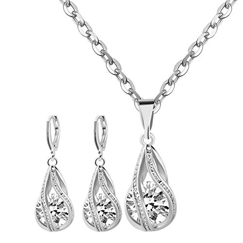 Yuhuan Womens Zircon Pendant Jewelry Set Gold/Silver Plated Chain Necklace and Earrings (Silver Zircon Earrings)