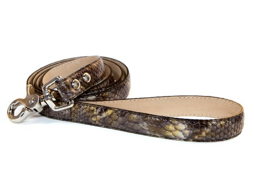 - Bluemax Genuine Leather Patent Snake Dog Leash, 1-Inch by 4-Feet, Olive