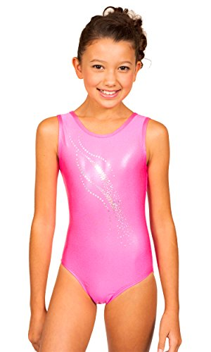 Price comparison product image TumbleWear Girl's Bree Silver Sparkle Applique Leotard (C:6/7, Shocking Pink)