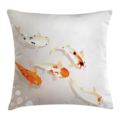 Ambesonne Animal Throw Pillow Cushion Cover, Traditional Koi Carps with Spots Oriental Items Representing Love Nautical Theme, Decorative Square Accent Pillow Case, 20