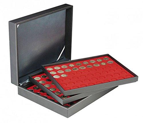 LINDNER Das Original Münzkassette NERA XL mit 3 Tableaus und hellroten Münzeinlagen für 162 Münzen mit Ø 25,75 mm, z.B. für 2 Euro-Münzen