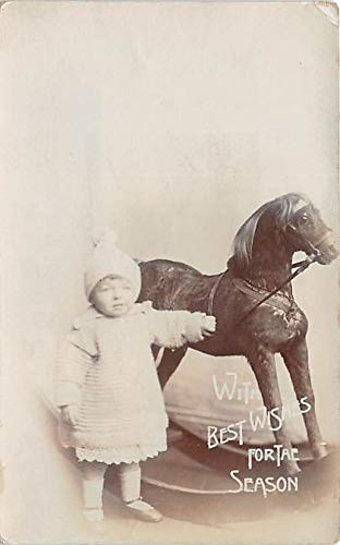 People and Children Photographed on Postcard, Old Vintage Antique Post Card With Best Wishes For The Season Ronald Charles Raymond with rocking horse Writing on back