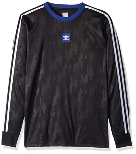adidas Originals Men's Dodson Jersey, Black/Active Blue/White, Small Adidas Climalite Long Sleeve Jersey