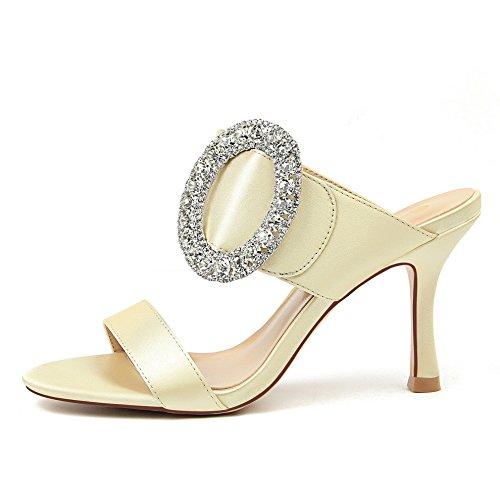 soie avec restaurants word femme de pantoufles girl cravate des satinée cool chaussures de Chaussures raffinés mode Blond clair talon Qiqi Xue et des pafq6wp