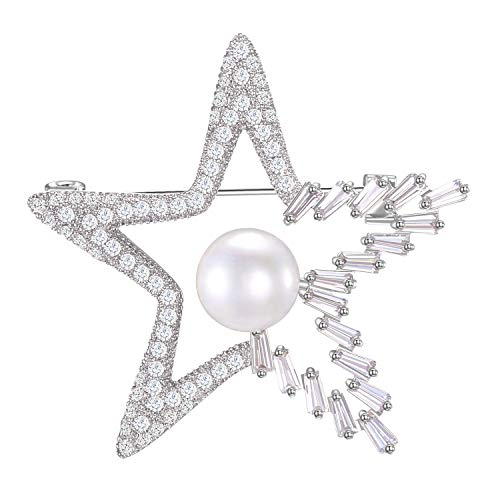 LILIE&WHITE Sparkling Cubic Zircon Star Brooches and Pins Gift for Women Wedding Bridal Star Jewelry