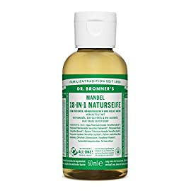 Dr. Bronner's Fair Trade & Organic Castile Liquid Soap - (Almond, 2 oz) 75 SMOOTH AND MOISTURIZING: The organic and vegan ingredients are combined with a pure-castile liquid soap base for a rich, emollient lather and a moisturizing after feel. NATURAL: Smooth and luxurious soap with no synthetic detergents or preservatives, as none of the ingredients or organisms are genetically modified. CERTIFIED ORGANIC AND VEGAN: Certified organic by the USDA National Organic Program and certified Vegan by Vegan Action.