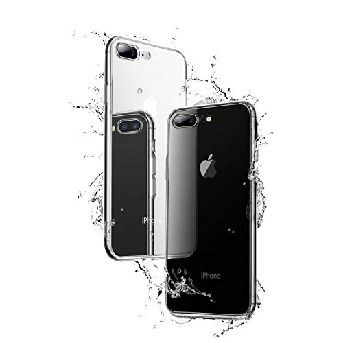NganHing Case Compatible iPhone 8 Plus iPhone 7 Plus Tempered Glass Cover+ TPU Soft Silicone Bumper Reinforced Corners Shock Absorption Anti-Scratch HD Clear Back