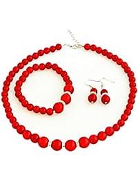 Faux Pearl Crystal Choker Necklace Earring Bracelet Jewelry Set (red)