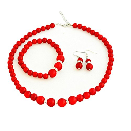 Bodai Faux Pearl Crystal Choker Necklace Earring Bracelet Jewelry Set ()