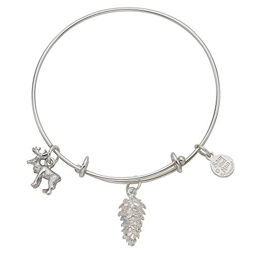 Sam And Nan Pinecone Moose Expandable Charm Bangle Bracelet Sterling Silver Finish USA Made