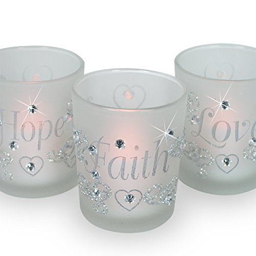 Decorative Glass Votive Holders - FAITH HOPE LOVE Frosted Glass Candle Holders - Silver Glitter Hearts & Crystals - Set of 3 Assorted - Three Flameless Flickering LED Candles Included