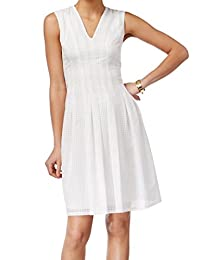 Anne Klein Womens Dot Print Pleated Casual Dress