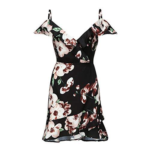 CCOOfhhc Women's Summer Mini Dress Cold Shoulder Halter Neck Boho Floral Print Casual Cascading Ruffle Flare Short Dress Black