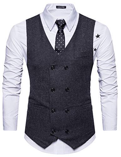 Atryone Mens Tweed Waistcoat Slim Fit Herringbone Vest Formal V-Neck Suit Vests