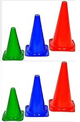 12 Inches ''CW Tall Traffic Ground Marker Cones Multicolor'' Pack of 6 Sports Activity Indoor & Outdoor Gaming ,Field ,Boundary ,Pitch ,Playground ,Festive Events,Multipurpose Cones by C&W