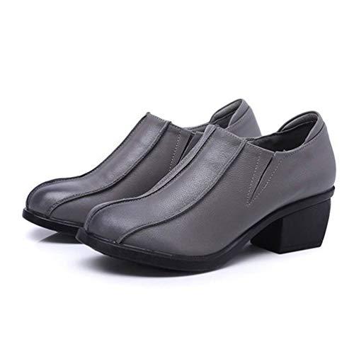 Para Cuñas Bombas Zapatos Mujer Cuero Poco Gris Redonda Vaca De Altos Tacones Retro Las Casual Mujeres Calzado Punta Medias Gruesos Profunda Estilo FqTxrtqUwz