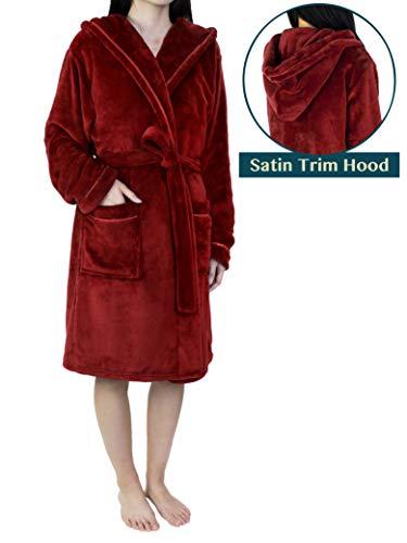 (Women Soft Fleece Hooded Robe with Satin Trim | Short Knee Length Plush Warm Bath Spa Robe with Hood Wine)