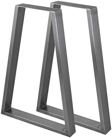 2 x台形テーブル脚/ペア工業用家具デスクベンチ250 mm x 500 mm x 710 mm生鋼仕上げ&プロテクターフィート