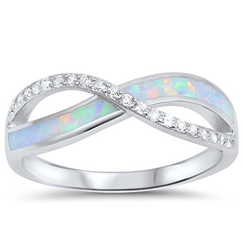White Fire Opal Wide Band - White CZ White Simulated Opal Infinity Ring New .925 Sterling Silver Band Size 9