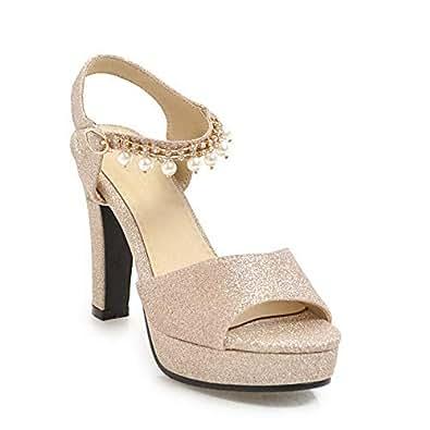 BalaMasa Womens ASL06526 Clasp Dress Low-Top Gold Pu Platform Heels - 2 UK (Lable:33)