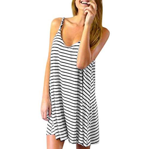 Women Dress Sleeveless Striped Loose V-Neck Mini Dress Summer Beach Party Casual Sundress White ()