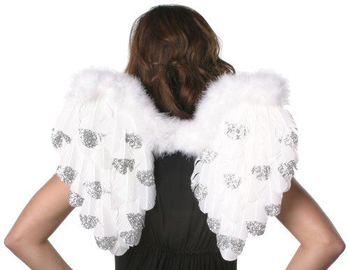 Feather Angel Wings with Glitter - White/Silver Lurex