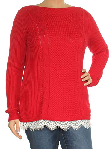 Tommy Hilfiger Womens Winter Knit Pullover Sweater Red L