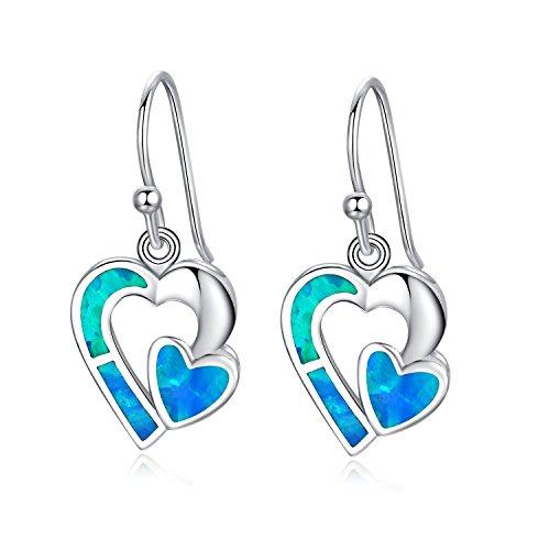 Soul Mate Heart (Canmiya Rhodium Plated Sterling Silver Synthetic Blue Opal Soulmate Heart Drop Dangle Earrings)