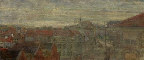 High Quality Polyster Canvas ,the Cheap But High Quality Art Decorative Art Decorative Canvas Prints Of Oil Painting 'James Ensor - View Of Phnosie, Luminous Waves And Vibrations, 1898', 12x29 Inch / 30x73 Cm Is Best For Home Office Decoration And Home Decor And Gifts