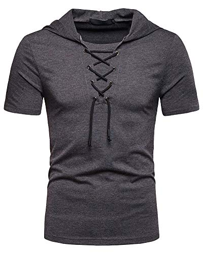 Lace Hooded (Mens Short Sleeve Hooded - Casual Solid Color Pullover T Shirts Summer Dark Grey Tops M)