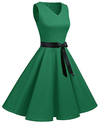 col 50 Vintage sans Robe Bridesmay Hepburn rtro Audrey Manches Rockabilly annes en Vert V q8Twa