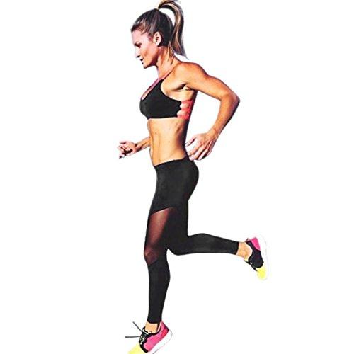 Coohole Women Sexy New Fashion Skinny Leggings Of Patchwork Mesh Yoga Leggings Fitness Sports Pants (Black, L)