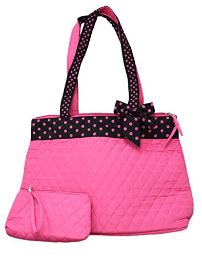 quilted pink diaper bag - 2