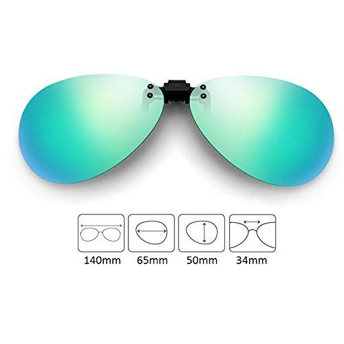 Cyxus Flash aviateur classique Verres Miroir Lunettes de soleil polarisées à clipser Verres Correcteurs [anti-reflet Protection UV] de conduite/lunettes de pêche, Hommes et femmes vert Vert